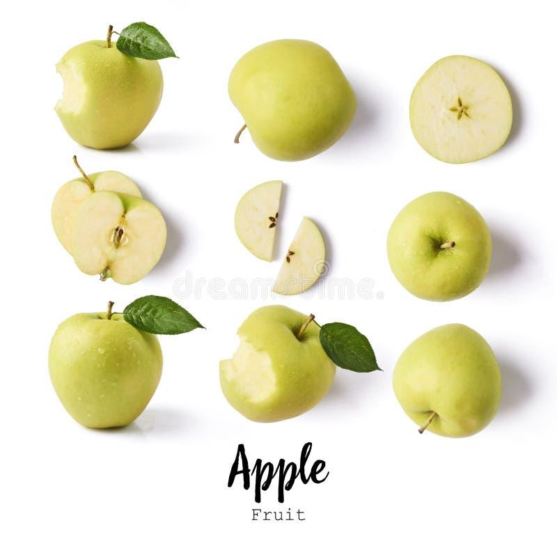 Configuration sans joint avec des pommes fruits de pomme, isolant créatif de disposition image stock