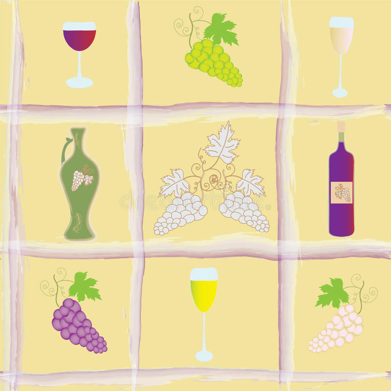 Configuration sans joint avec des raisins, bouteille, gobelets, illustration de vecteur
