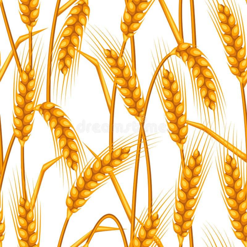 Configuration sans joint avec du blé Oreilles d'or naturelles d'image agricole d'orge ou de seigle illustration stock