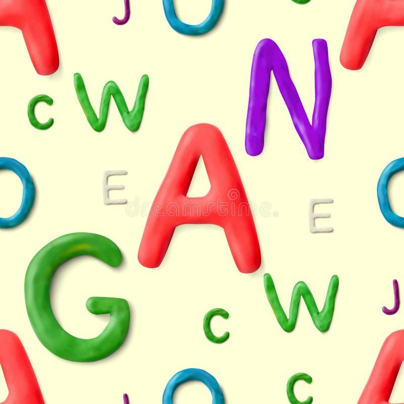 Configuration sans joint avec l'alphabet Lettres faites main d'argile Vecteur 3d réaliste marquant avec des lettres le fond illustration libre de droits