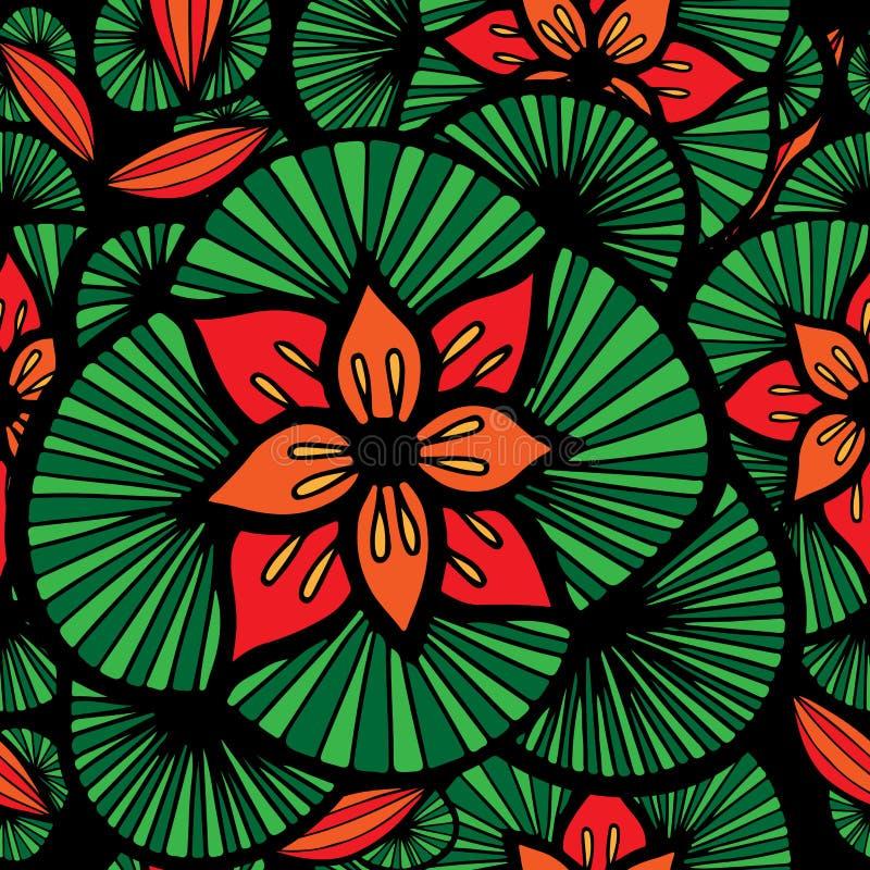 Configuration sans joint avec la fleur rouge abstraite illustration de vecteur