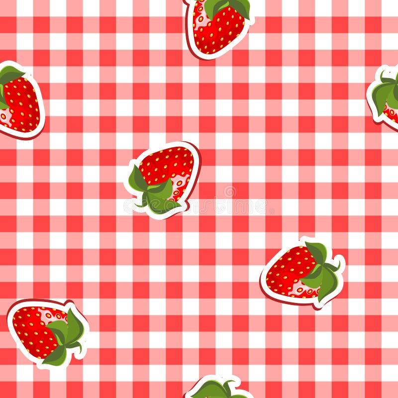 Configuration sans joint avec la toile et les fraises rouges illustration de vecteur