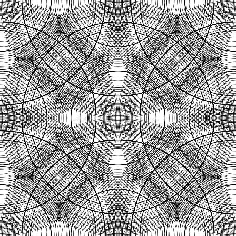 Configuration sans joint avec les cercles concentriques plan blanc noir de fond avec des arcs Texture abstraite illustration de vecteur
