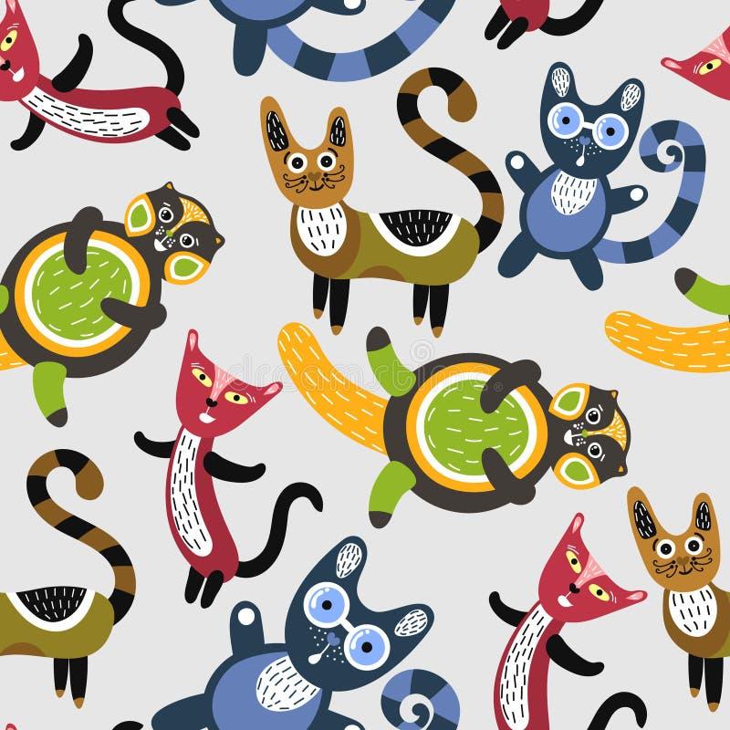 Configuration sans joint avec les chats drôles Fond artistique avec les chatons mignons Animaux colorés Animaux familiers préféré illustration stock