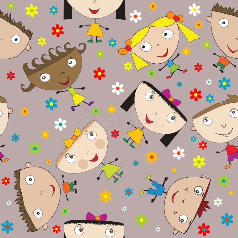 Configuration sans joint avec les enfants et les fleurs heureux illustration de vecteur