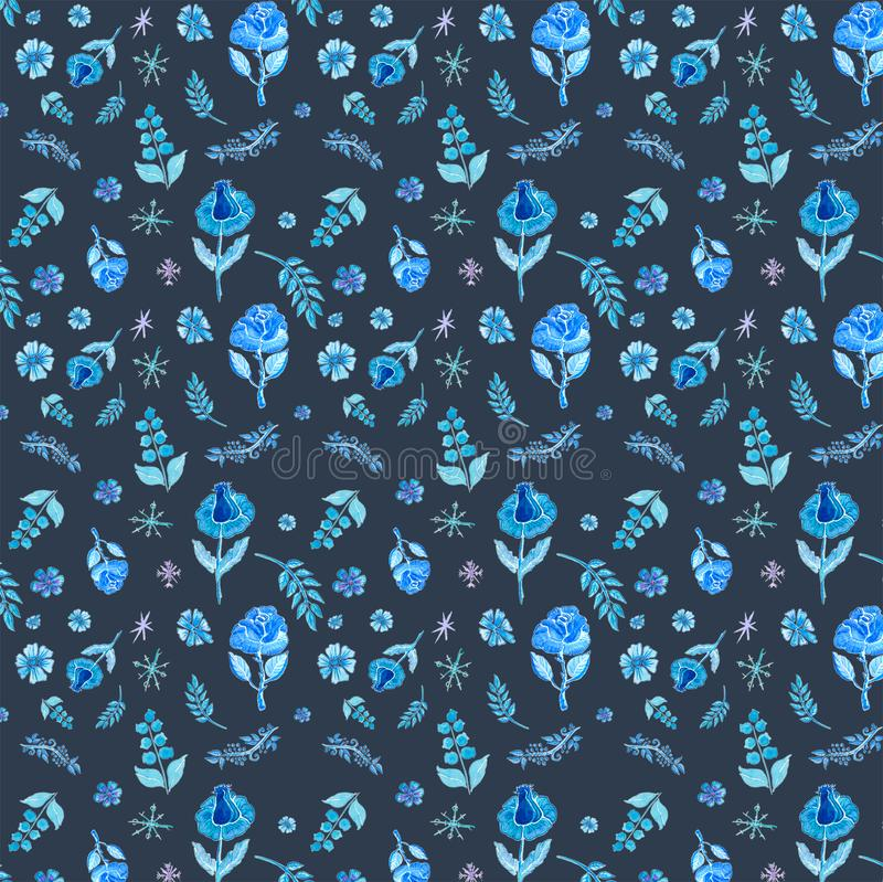 Configuration sans joint avec les fleurs bleues illustration libre de droits