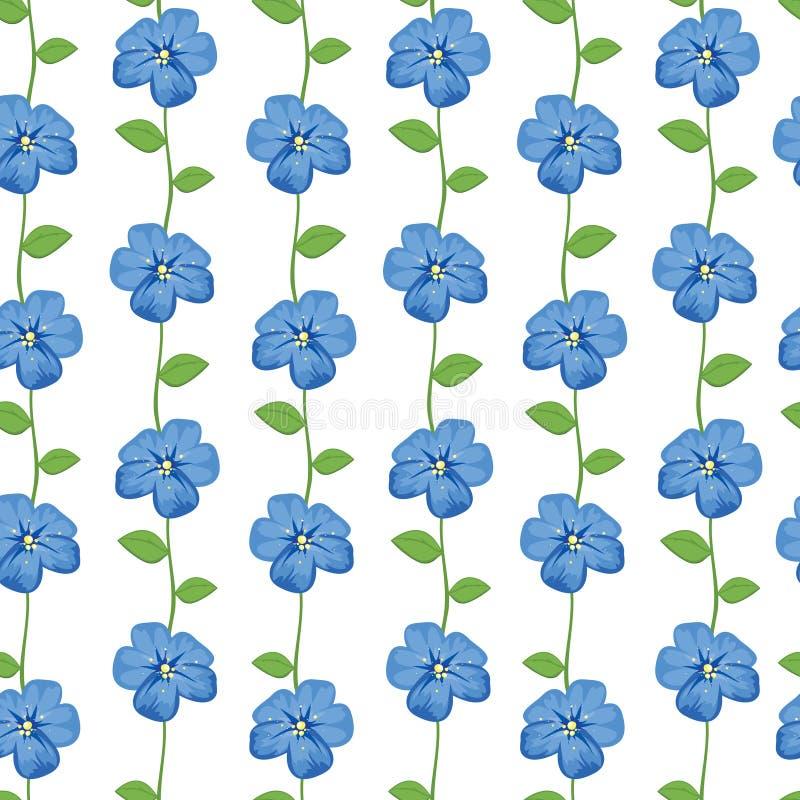 Configuration sans joint avec les fleurs bleues illustration de vecteur