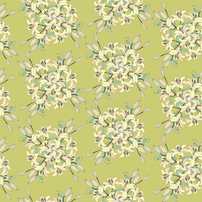 Configuration sans joint avec les fleurs jaune-clair douces illustration stock