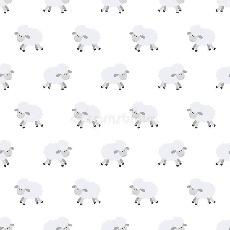 Configuration sans joint avec les moutons mignons Fond de vecteur pour des enfants Type de dessin animé Le griffonnage des enfant illustration libre de droits