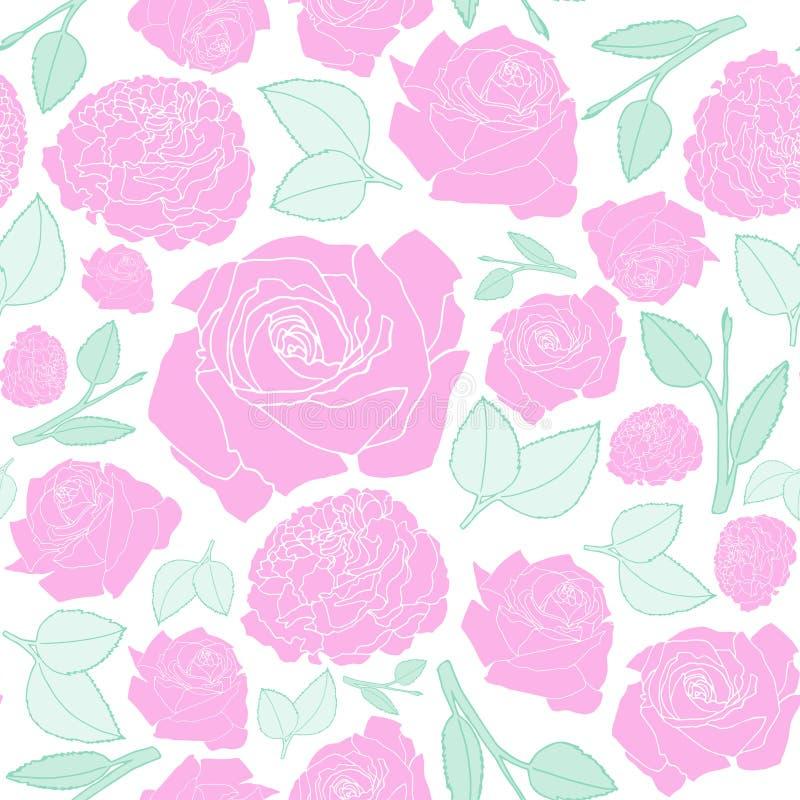 Configuration sans joint avec les roses roses illustration stock