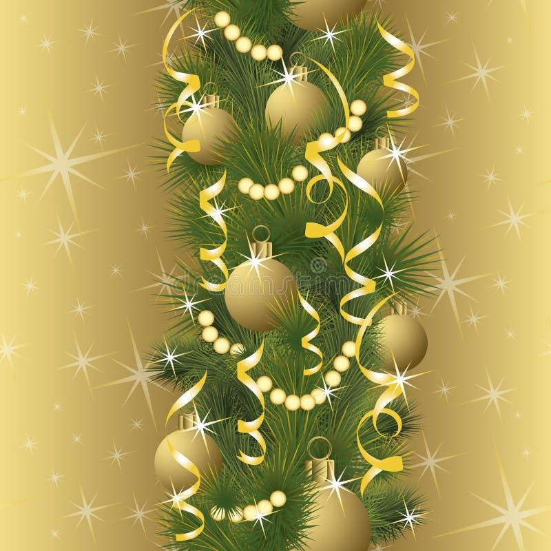 Configuration sans joint Bannière d'or d'hiver avec des boules de Noël, vecteur illustration libre de droits