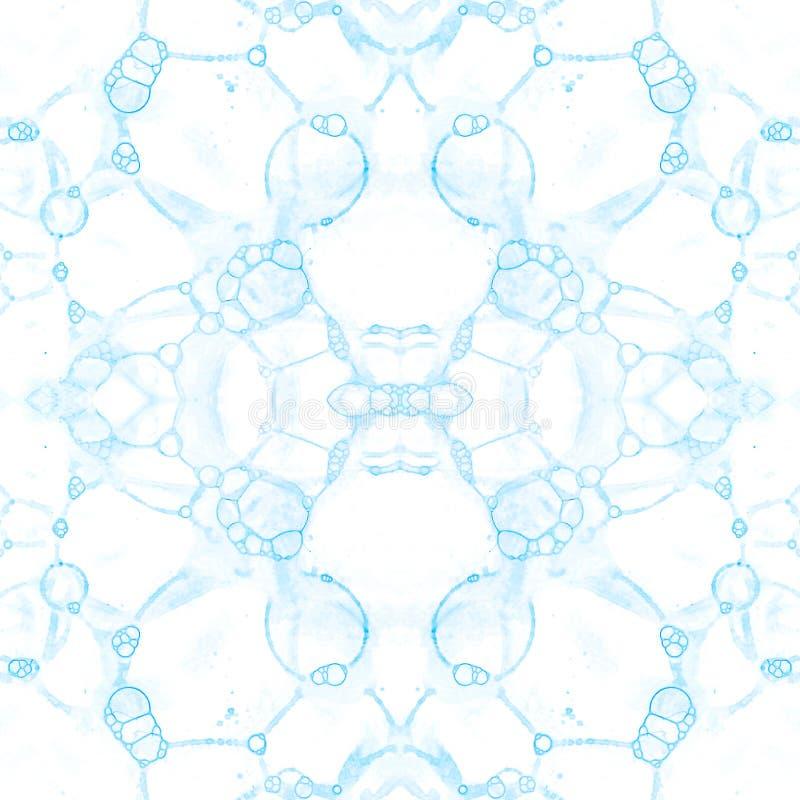 Configuration sans joint bleue Bulles de savon sensibles étonnantes Ornement tiré par la main de textile de dentelle Kaléidoscope illustration stock