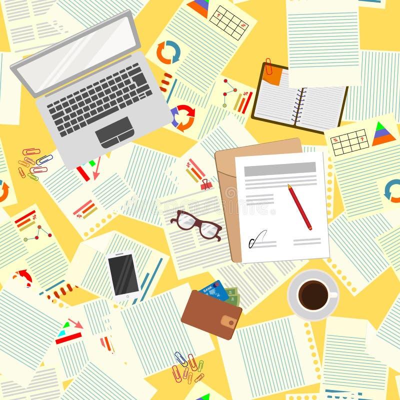 Configuration sans joint bureau Organisation réaliste de lieu de travail La vue à partir du dessus Illustration de vecteur illustration de vecteur