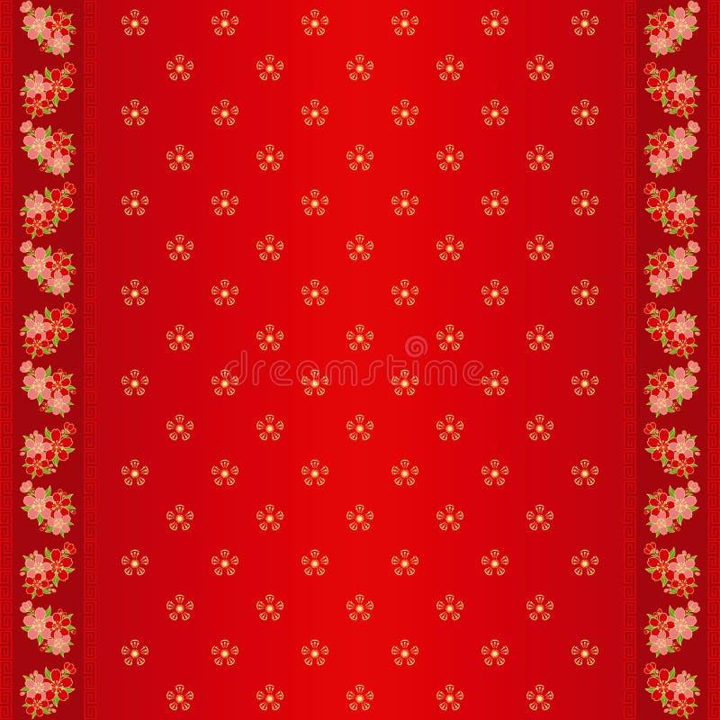 Configuration sans joint chinoise orientale et trame fleurie illustration stock