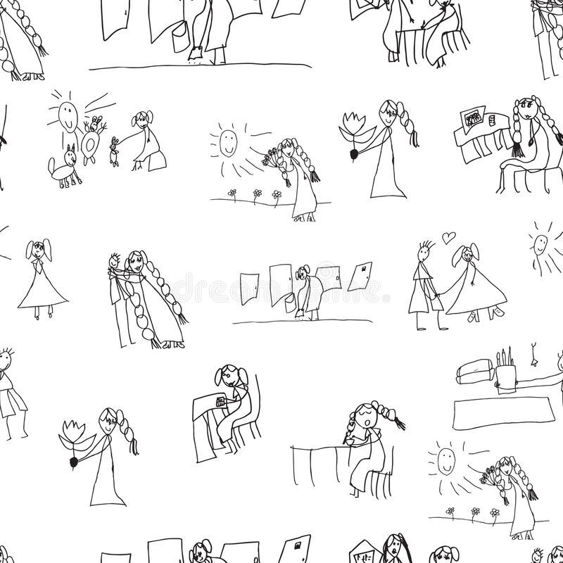 Configuration sans joint Collection des dessins des enfants mignons illustration libre de droits