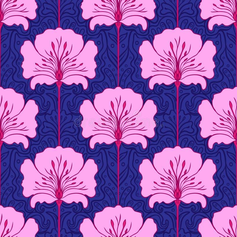 Configuration sans joint colorée avec des fleurs illustration stock