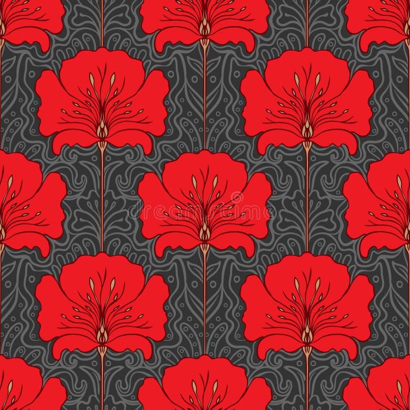 Configuration sans joint colorée avec les fleurs rouges illustration de vecteur