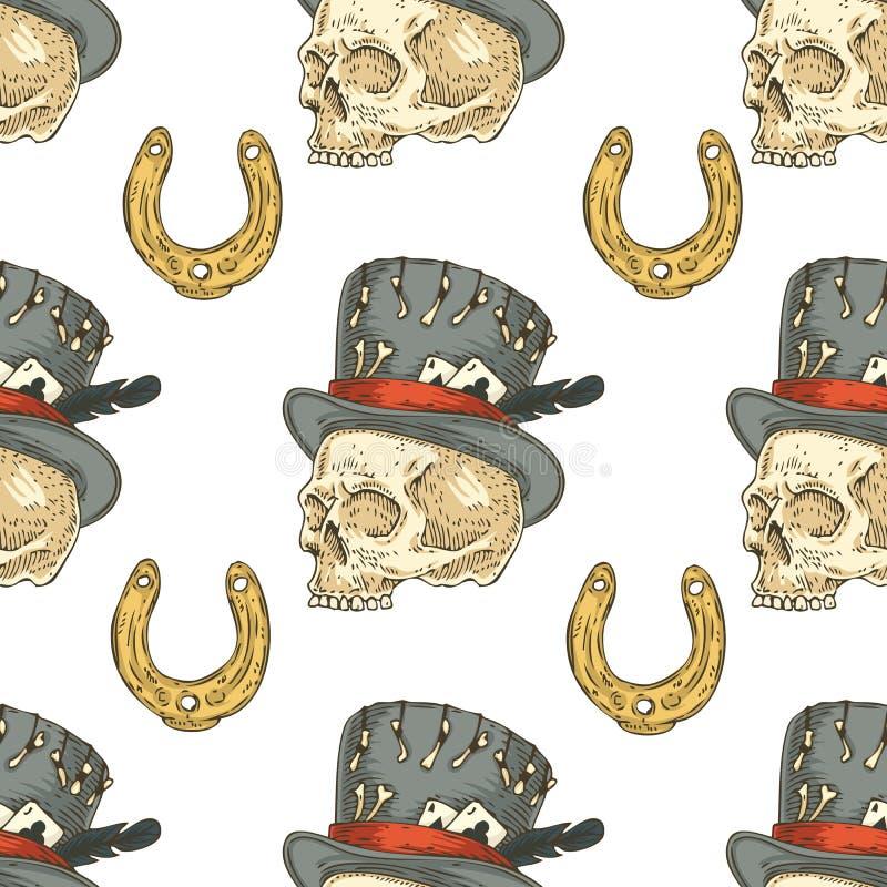 Configuration sans joint Crâne dans le chapeau et le Lucky Horseshoe illustration stock