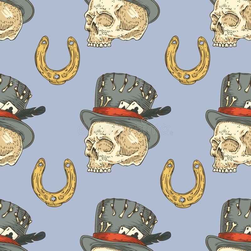 Configuration sans joint Crâne dans le chapeau et le Lucky Horseshoe illustration libre de droits