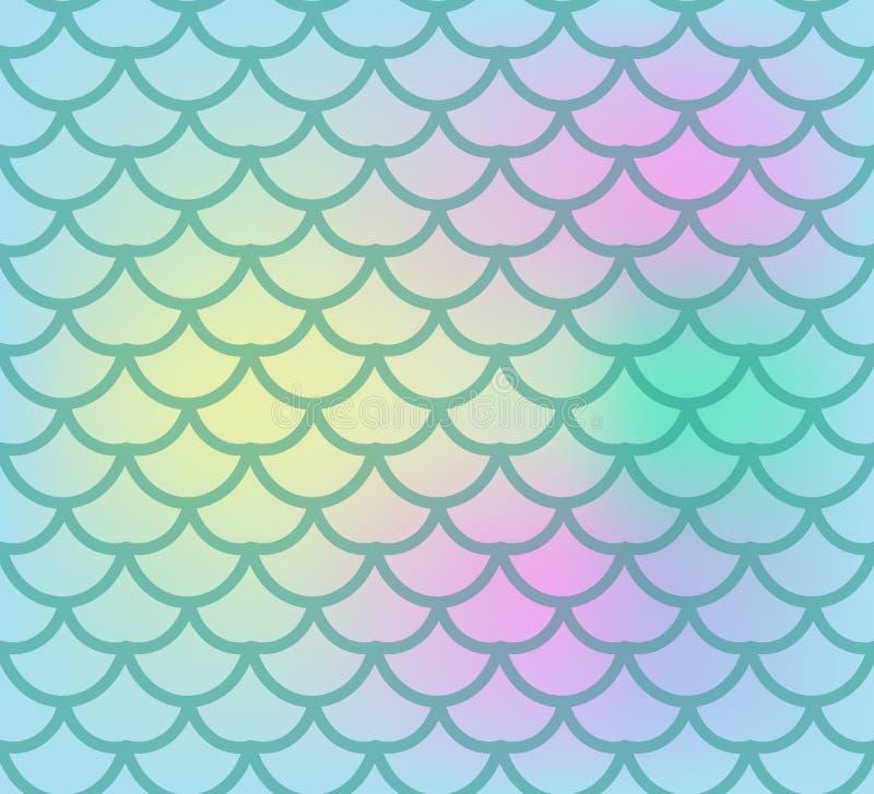 Configuration sans joint d'échelles de poissons Pêchez le fond sans fin de peau, queue de sirène répétant la texture Illustration illustration libre de droits