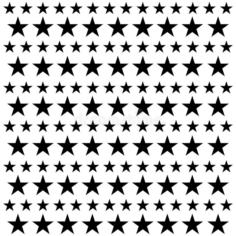 Configuration sans joint d'étoile Rétro fond blanc et noir Éléments chaotiques Texture géométrique abstraite de forme Effet de illustration stock