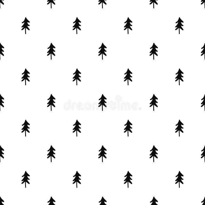 Configuration sans joint d'arbres de Noël Griffonnage noir et blanc illustration de vecteur