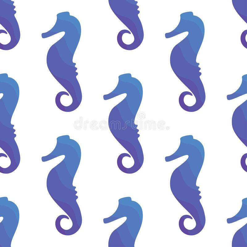 Configuration sans joint d'illustration de vecteur Conception tropicale marine Silhouette bleue de gradient d'hippocampe illustration de vecteur