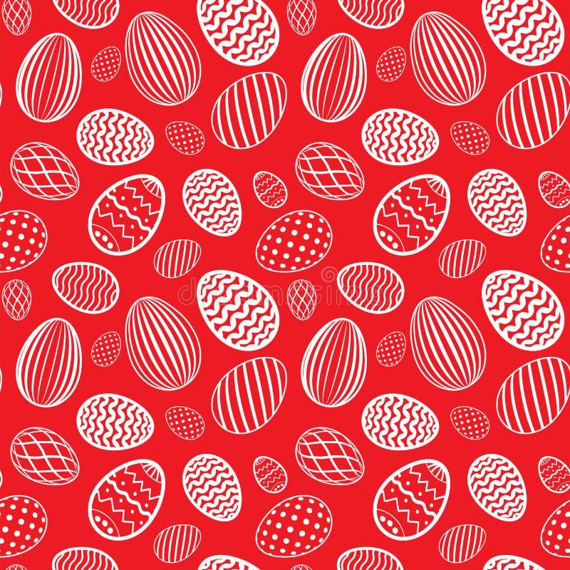 Configuration sans joint d'oeuf de pâques Couleur blanche rouge, texture d'oeufs de vacances Calibre décoratif abstrait simple Jo illustration libre de droits
