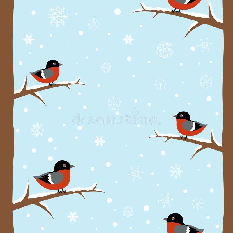 Configuration sans joint d'oiseau de bullfinch de l'hiver illustration de vecteur
