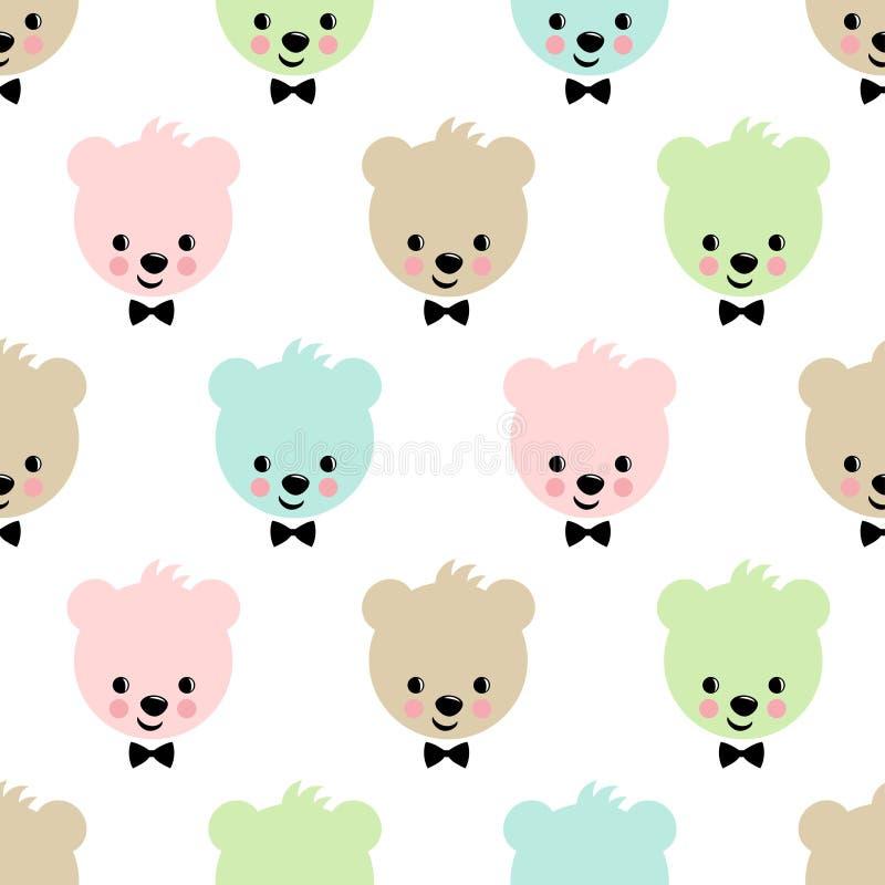 Configuration sans joint d'ours de nounours Fond mignon de vecteur avec l'ours de nounours de garçon illustration de vecteur
