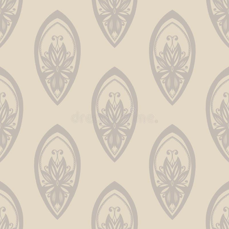 Configuration sans joint dans le type baroque Couleur beige La texture du tissu, papier peint, papier d'emballage illustration libre de droits