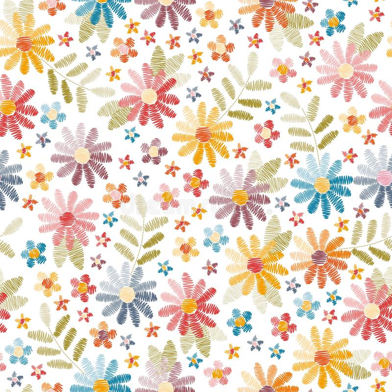 Configuration sans joint de broderie Belles fleurs et feuilles d'isolement sur le fond blanc Ouvrage d'agrément coloré illustration libre de droits