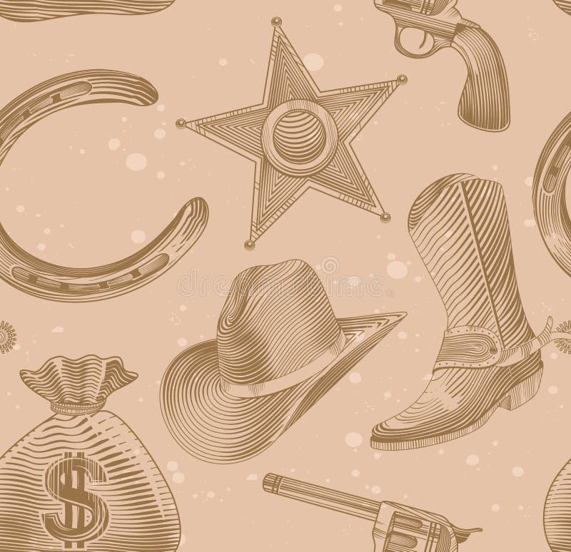 Configuration sans joint de cowboy dans le type de gravure illustration stock