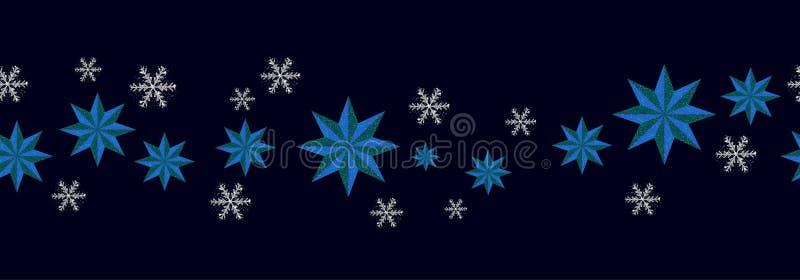 Configuration sans joint de d?coration de No?l Étoiles bleues de frontière de nouvelle année et flocons de neige argentés sur le  illustration stock