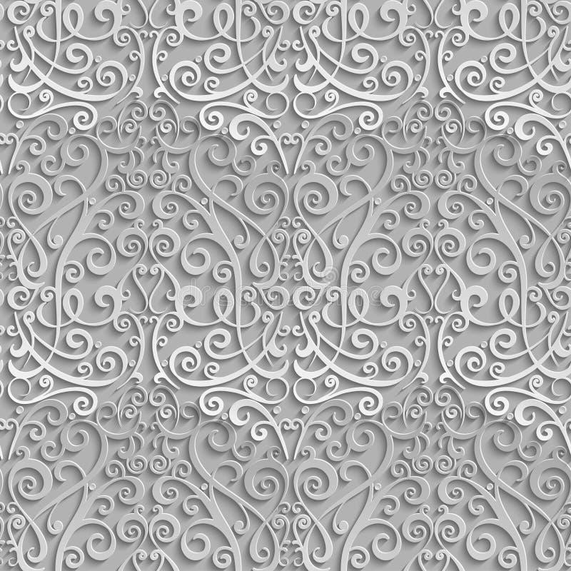Configuration sans joint de damassé élément 3D avec l'ombre et le point culminant illustration de vecteur