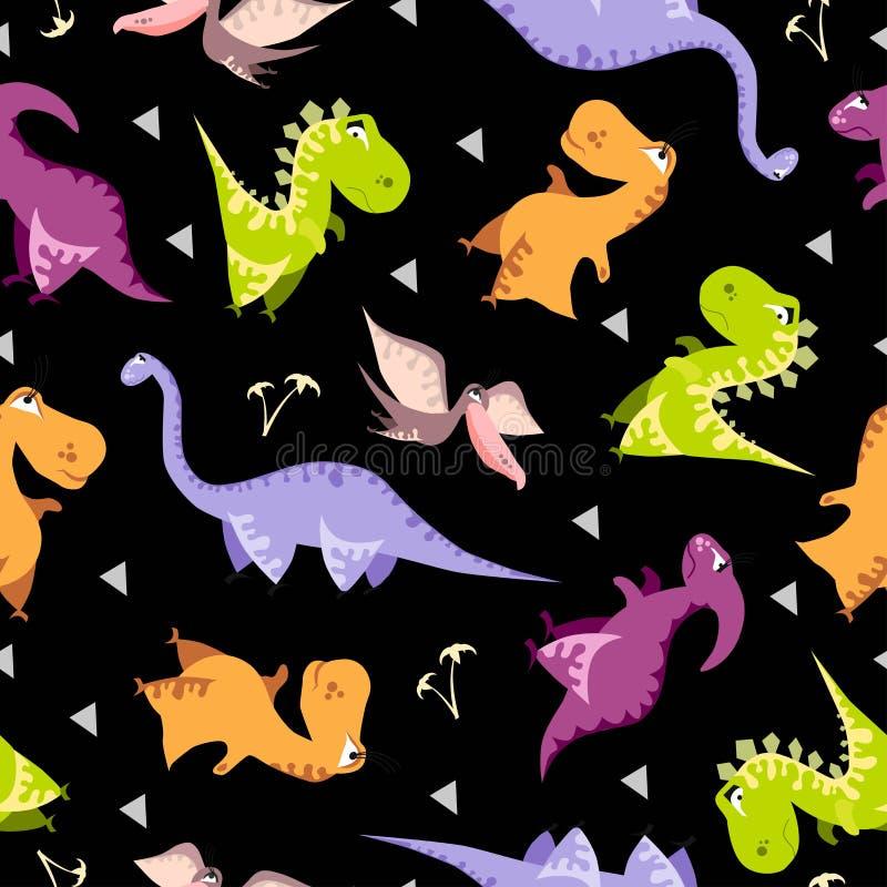 Configuration sans joint de dinosaur Fond noir animal avec Dino coloré Illustration de vecteur illustration libre de droits