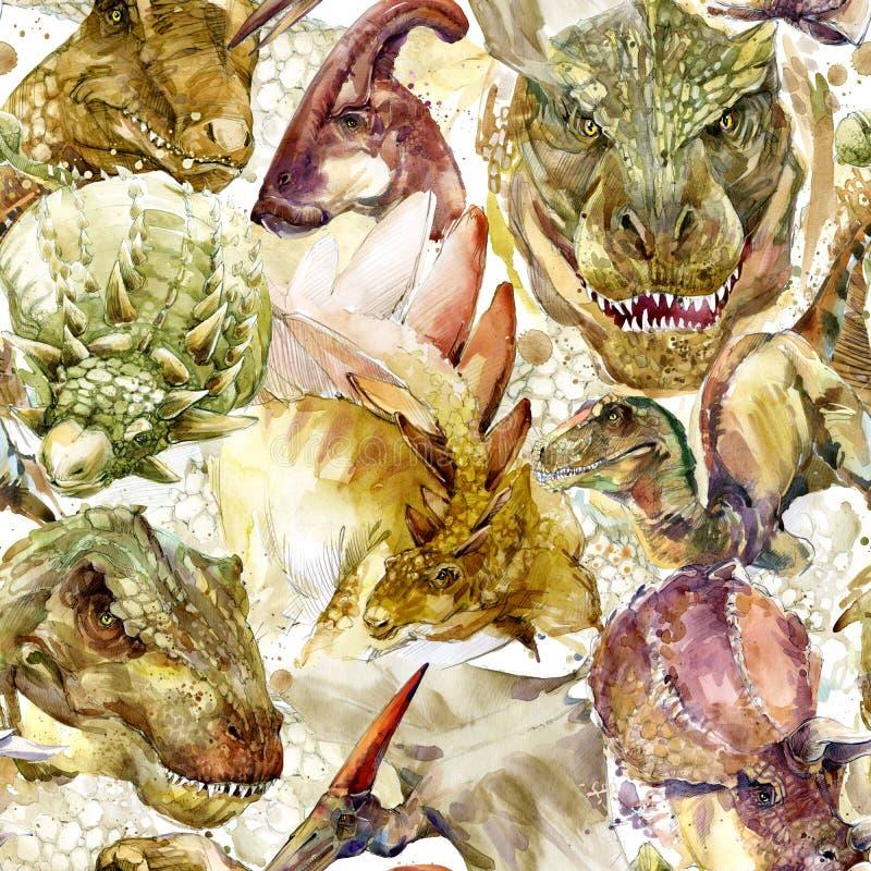 Configuration sans joint de dinosaures Illustration tirée par la main d'aquarelle illustration de vecteur