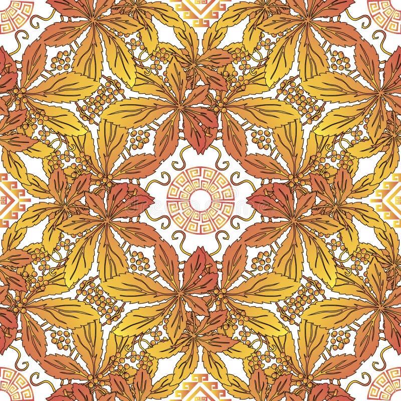 Configuration sans joint de lames d'automne Fond grec feuillu coloré de vecteur R?p?tez le contexte floral d?coratif Branches jau illustration libre de droits