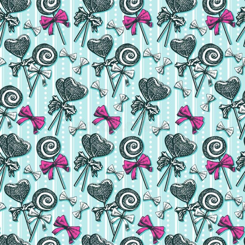 Configuration sans joint de lucettes Remous et sucreries de croquis et arcs en forme de coeur de rose sur l'illustration bleue de illustration libre de droits