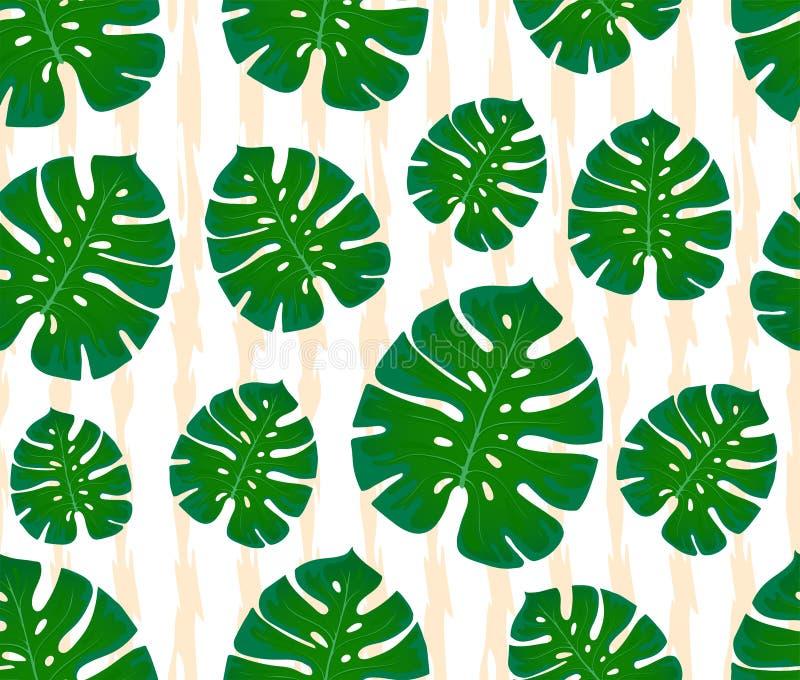 Configuration sans joint de Monstera copie avec des feuilles Conception des textiles et des tissus Palmettes à la mode sur un fon illustration de vecteur