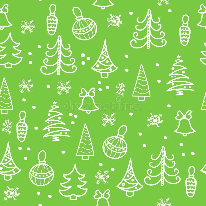 Configuration sans joint de Noël Arbre de Noël, décorations, cloches illustration de vecteur