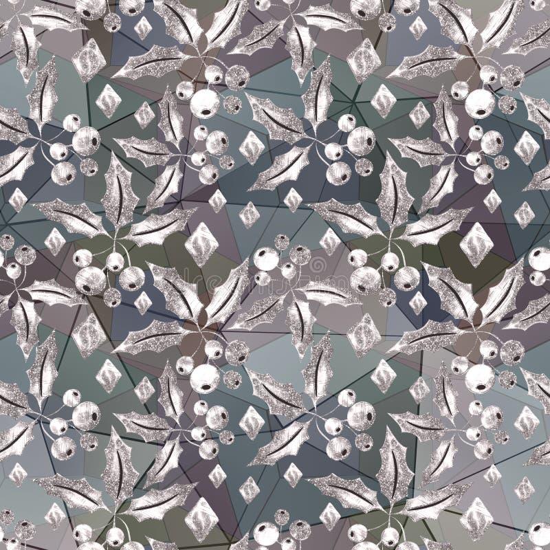 Configuration sans joint de Noël Brindilles argentées de scintillement avec des baies sur un fond clair illustration libre de droits