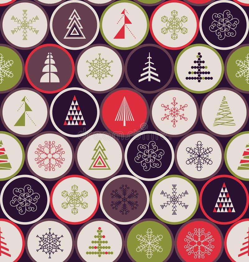 Configuration sans joint de Noël La géométrie des flocons de neige et des arbres illustration de vecteur