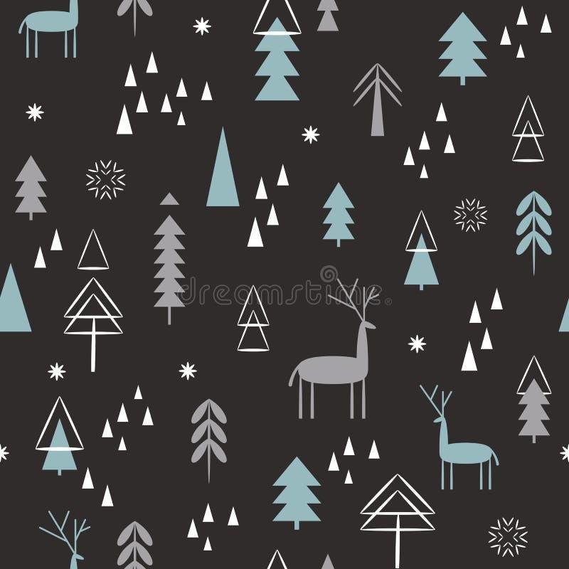 Configuration sans joint de No?l Cerfs communs de Noël, flocons de neige, forêt, arbres illustration de vecteur