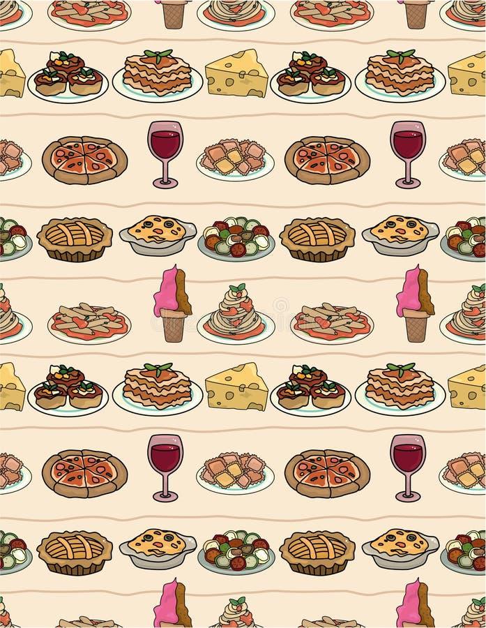 Configuration sans joint de nourriture de l'Italie de dessin animé illustration stock