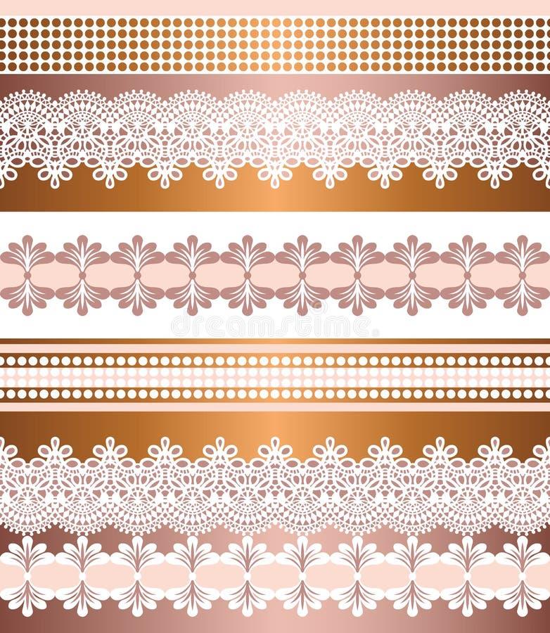 Configuration sans joint de pistes Ensemble de rayure de frontières sans couture de Bohème de dentelle Contexte d?coratif d'ornem illustration libre de droits