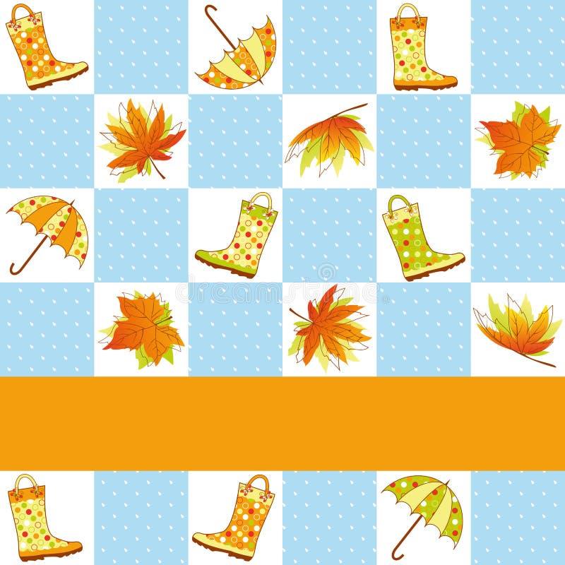 Configuration sans joint de pluie colorée d'automne illustration de vecteur