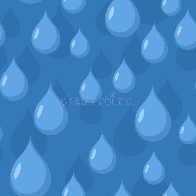 Configuration sans joint de pluie Fond de vecteur des baisses de l'eau bleue illustration libre de droits
