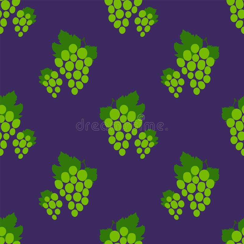 Configuration sans joint de raisin Groupe de raisins vert Baie fra?che tir?e par la main Fond de croquis de vecteur Papier peint  illustration stock
