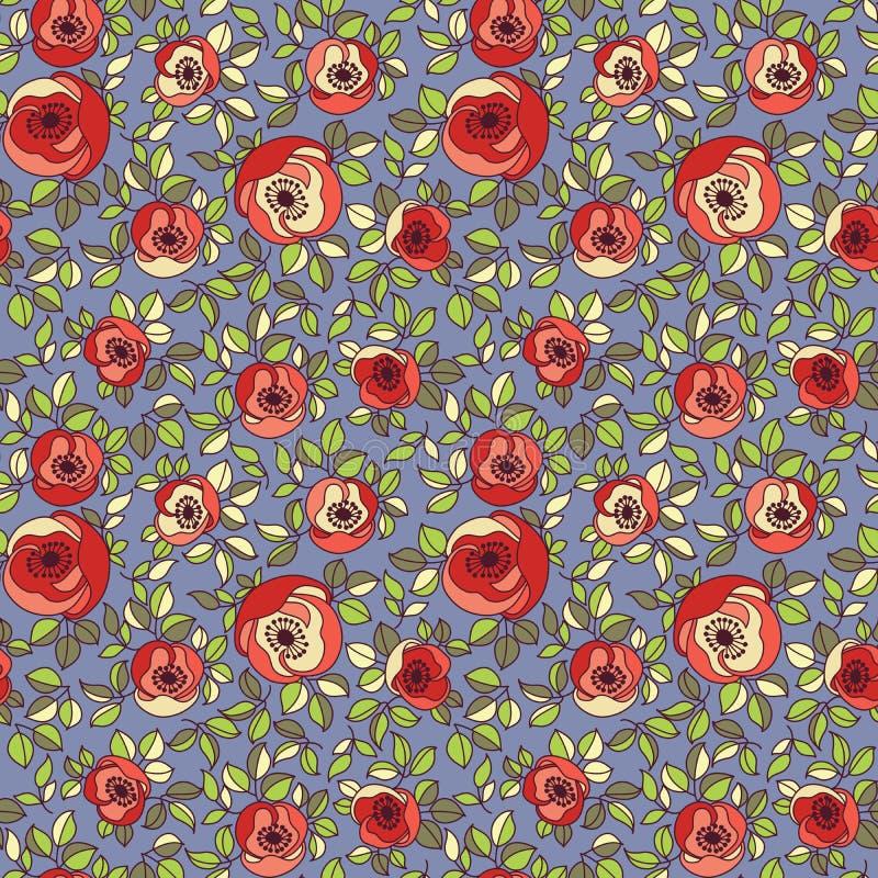 Configuration sans joint de roses multicolores de cru illustration stock
